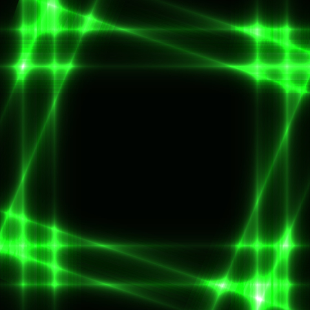 Black background with shining neon green grid or border or frame. Dark template  with glowing green squares. Place for you text. Illustration