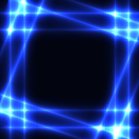 watter: Black background with shining neon blue grid or border or frame. Dark template  with glowing blue squares. Place for you text.
