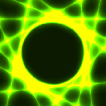 green and yellow template with dark circle for text and laser beams like sun rays Illustration
