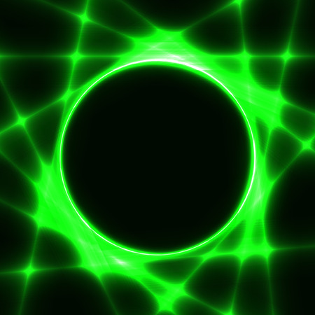 Green template with dark circle for text and laser beams like sun rays