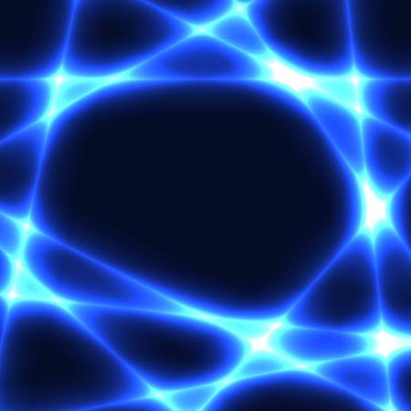 caótico líneas azules sobre fondo oscuro. Plantilla con líneas de láser azul. Lugar para el texto en el centro.