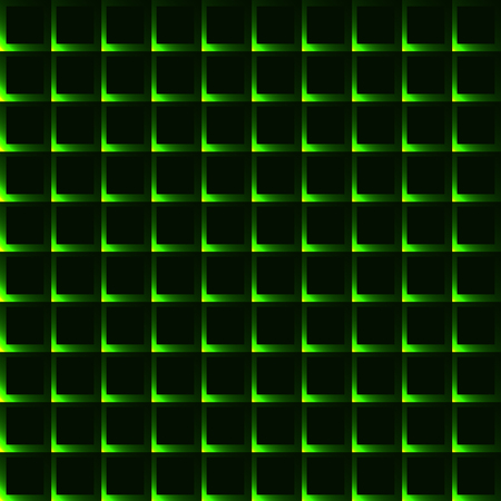 krypton: Green grid with shining spots - seamless background Illustration