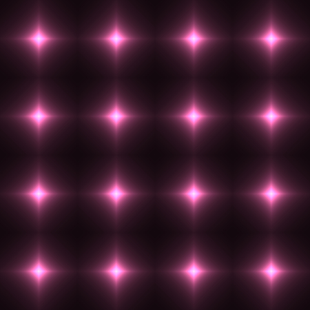 shinning: Pink seamless patterm made from shinning cross. Dark seamless background with rose glowing points. Red wall of floor made from tiles. Pink laser safety grid or net.