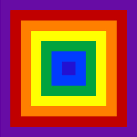 Psychedelic squares in rainbow colors. Colorful squares going form small one to large one. Square tiles placed form big one to the smallest one.