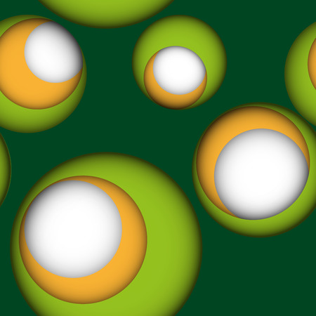 chewed: Seamless leaky background in bright colors with gaps or holes to another layer with shadows. Green seamless background with holes to green, yellow and white layer. Illustration