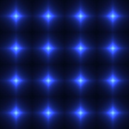 Blue seamless patterm made from shinning cross. Dark seamless background with blue glowing blue points. Blue wall of floor made from tiles. Blue laser safety grid or net. Illustration