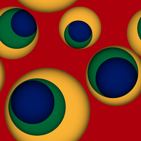 gaps: Seamless leaky background in bright colors with gaps or holes to another layer with shadows. Red seamless background with holes to yellow, green and blue layer. Illustration