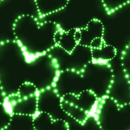 shinning: Neon shinning green hearts on dark background - seamless background Illustration