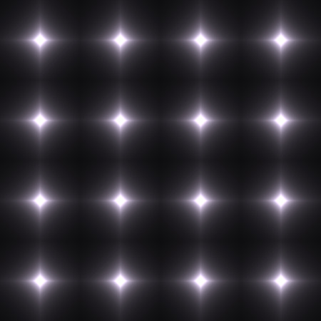 shinning: Black and white seamless patterm made from shinning cross. Dark seamless background with white glowing points. Monochromatic wall of floor made from tiles. Black and white laser safety grid or net.