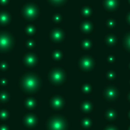 krypton: Green seamless background with LED lights in line. Seamless background with chain of shinning stars Illustration
