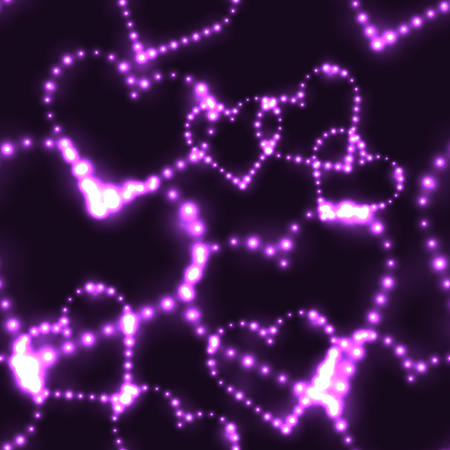 Neon shinning purple hearts on dark background - seamless background