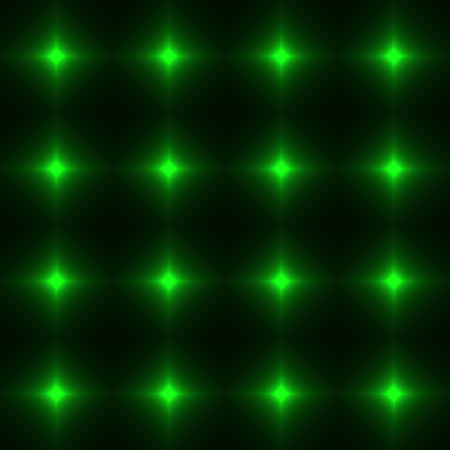 safety net: Green seamless patterm made from shinning cross. Dark seamless background with Green glowing points. Red wall of floor made from tiles. Green laser safety grid or net.