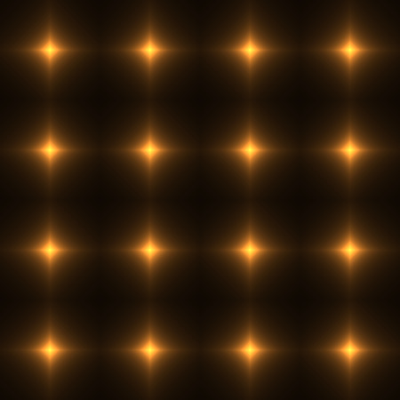 shinning: Gold seamless patterm made from shinning cross. Dark seamless background with Orange glowing points. Yellow wall of floor made from tiles. Honey color laser safety grid or net. Illustration