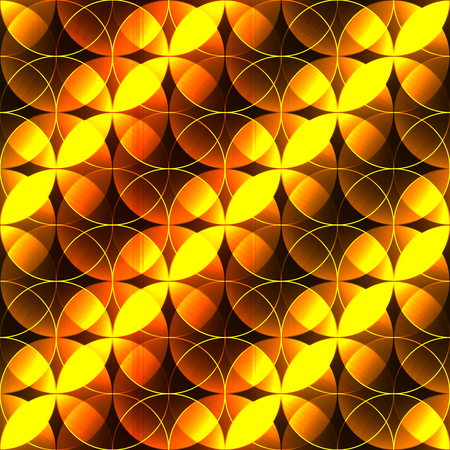 shinning: hot gold seamless background witj shine petals. hot gold shinning leafs made from circles