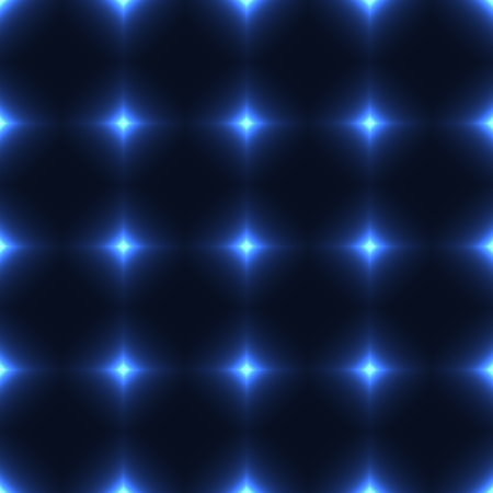 shinning: Blue seamless patterm made from shinning cross. Dark seamless background with blue glowing points. Blue wall of floor made from tiles. Blue laser safety grid or net. Illustration