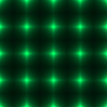 Green seamless patterm made from shinning cross. Dark seamless background with green glowing points. Green wall of floor made from tiles. Green laser safety grid or net.