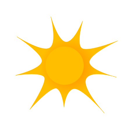 Simple drawn sun on white background.. Gradient cartoon sun. Sun for summer event. Illustration
