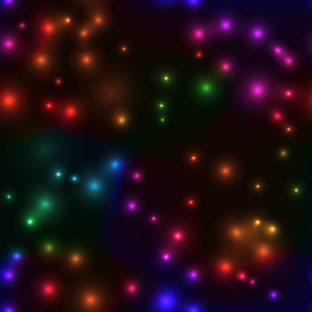 laser lights: Cool seamless bakground with small lights in rainbow color. Festive seamless pattern with neon laser lights on dark background.