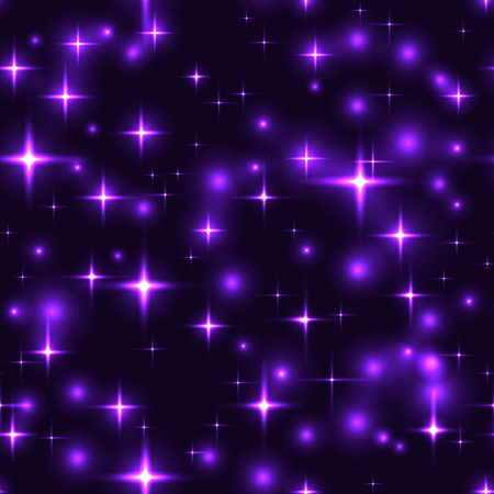 purple stars: Superb purple stars dark seamless background. Gorgeous glittering seamless background with violet stars and blurs. Neon lilac star firework on sky - seamless pattern. violet lights for xmas or new year eve.