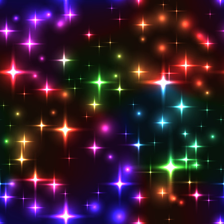 Superb spectrum stars dark seamless background. Gorgeous glittering seamless background with rainbow stars and blurs. Neon colorful star firework on sky - seamless pattern. multicolor lights for xmas or new year eve.