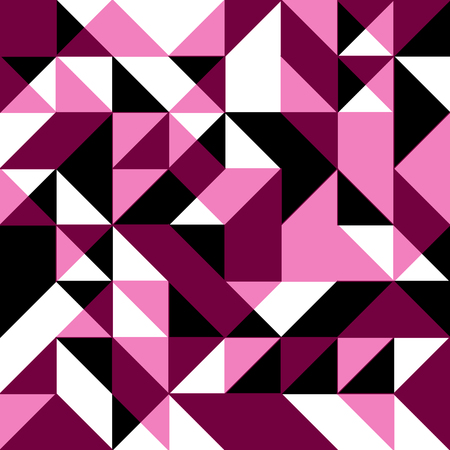 Pink seamless background with geometric shapes. Low polygon seamless pattern in pink colors. Triangle mosaic with pink rouge purple white and black colors.