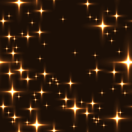 milkyway: Golden seamless background with shining stars. Simple seamless pattern with lot of stars on night sky. Midnight sky full of stars with milky-way in gold colors.