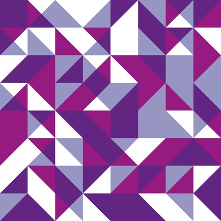 Violet seamless background with geometric shapes. Low polygon seamless pattern in purple colors. Triangle mosaic with lilac rouge purple and white colors.