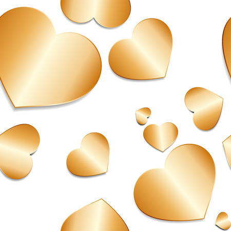 Romantic seamless pattern with glossy gold hearts with shadow  on white background. Illustration