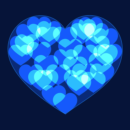 shinning: Blue big heart made form small bokeh neon shinning hearts on dark background