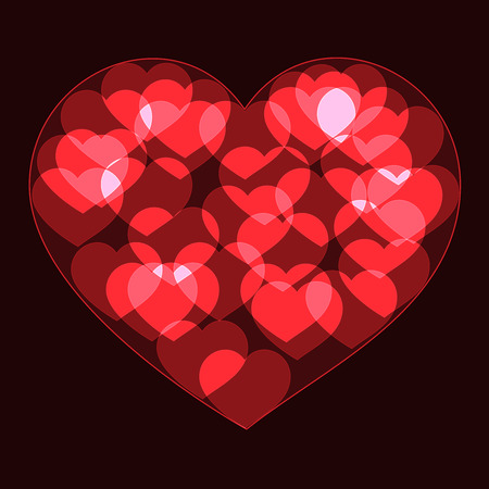 shinning: Red big heart made form small bokeh neon shinning hearts on dark background Illustration