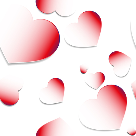 Romantic seamless pattern with luxury paper red hearts with gradient to white on white background in random order Illustration