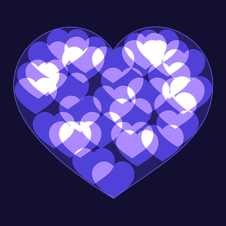 Violet big heart made form small bokeh neon shinning hearts on dark background