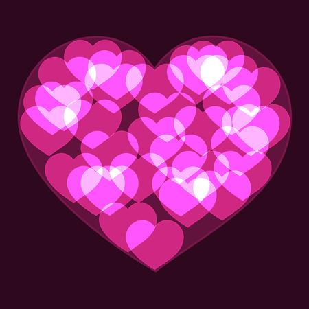 Pink big heart made form small bokeh neon shinning hearts on dark background Illustration
