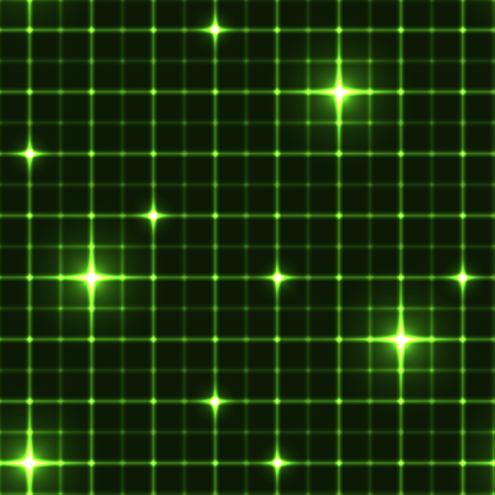 Dark green grid with shining points. Laser net with glow intersects on green dark background. Seamless pattern with green neon regular lines and light cross.
