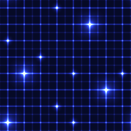 intersects: Dark blue grid with shining points. Laser net with glow intersects on blue dark background. Seamless pattern with blue neon regular lines and light cross.