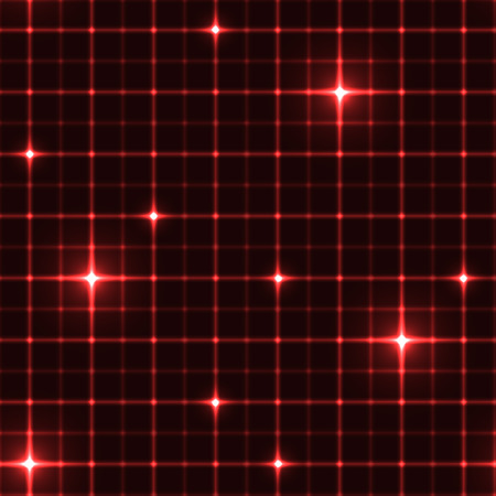 intersects: Dark red grid with shining points. Laser net with glow intersects on red dark background. Seamless pattern with red neon regular lines and light cross. Illustration