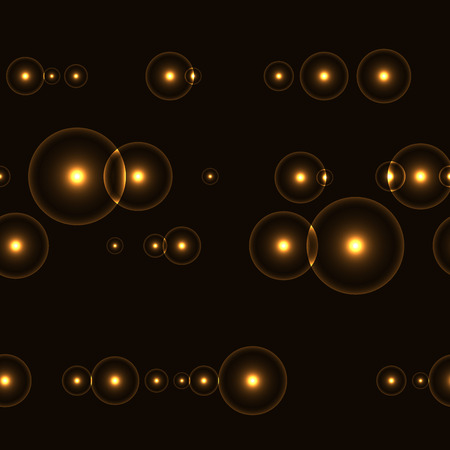 Dark seamless background with shinning golden circles and points. Neverending pattern with glowing points with halo around. Infinity lines with yellow lights on black background.