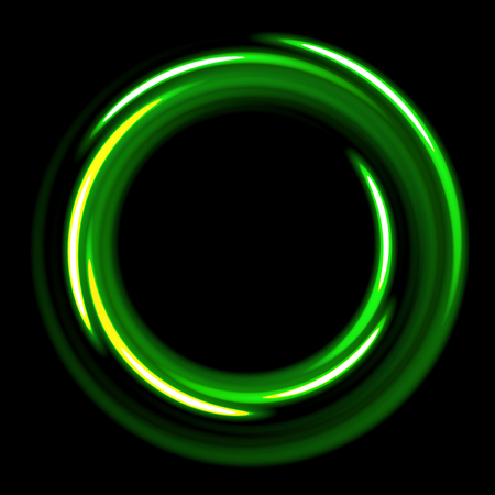 abstract fire: Dark template with green  circles spirals. green shinning rings on dakr background. Dark template with green circles with place for your text. Illustration
