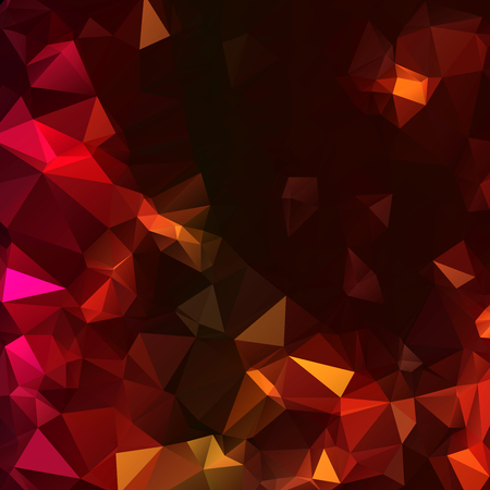 Dark low polygon triangle background in warm colors. Modern pattern with shinning rock, diamonds, triangles or polygons in yellow, orange, pink and red colors. Illustration