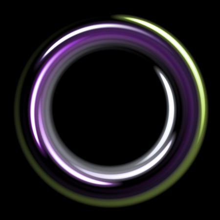 Dark template with cold circles spirals.violet and green shinning rings on dakr background. Dark template with purple and green circles with place for your text.