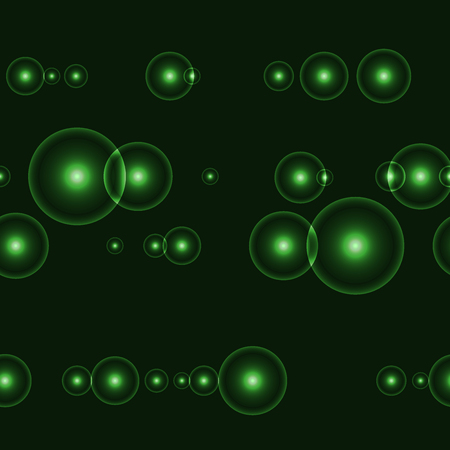 Dark seamless background with shinning green circles and points. Neverending pattern with glowing points with halo around. Infinity lines with green lights on black background. Illustration