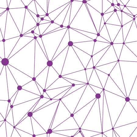 interconnect: White seamless pattern with purple points and connections. White and violet modern low polygonal background. White triangles with purple outline and white small point on interconnect