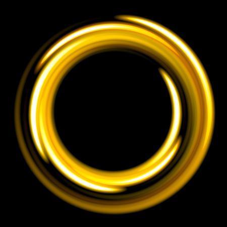 Dark template with golden circles spirals. Yellow honey shinning rings on dakr background. Dark template with yellow circles with place for your text. Illustration