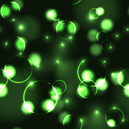 Neon green bokeh effect seamless pattern. Dark background with Glowing sparkling circles and rings in green colors. Illustration