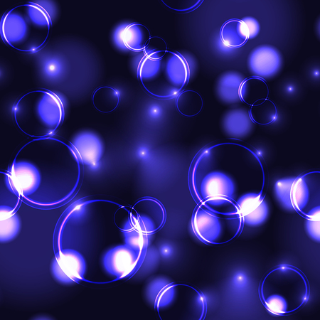 Neon purple bokeh effect seamless pattern. Dark background with Glowing sparkling circles and rings in violet colors.