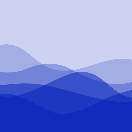 Flat design purple waves or hills on landscape. Simple template with waves in cold colors.