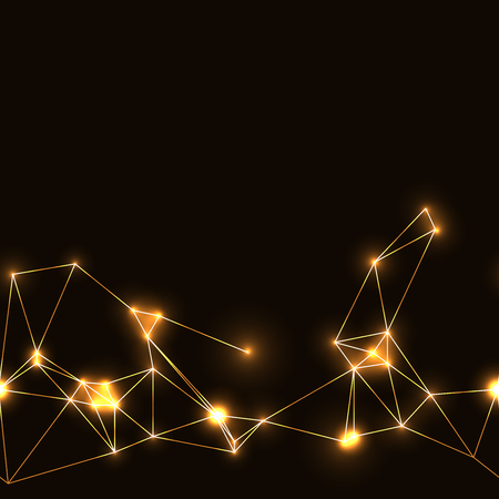 golden neon seamless polygonal pattern. dark background with gold neon modern technology triangular grid. Illustration