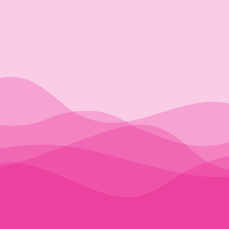 Flat design pink waves or hills on landscape. Simple template with waves in rose colors.