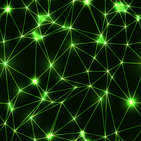 Green seamless pattern with neon triangles. Low polygon geometric seamless dark background with green neon stars and lines. Modern triangular technology backdrop.