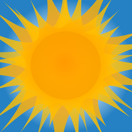 Big yellow sun with lot of beams on blue background. Flat designed sun with several transparent layers of beams.